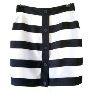 Club Monaco Stripe and Front Button Down Skirt